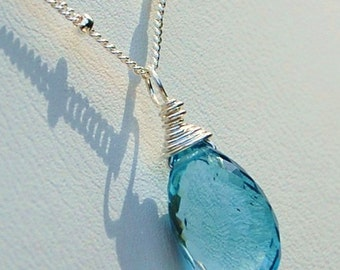 London Blue Topaz Gemstone Briolette Necklace, Petite, Sterling Silver Chain, Classic Elegance