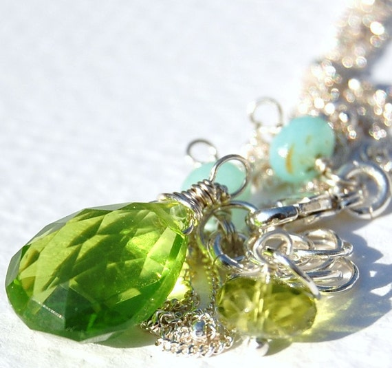 Peridot Green Necklace of Large Teardrop Hydro Peridot, Peruvian Opals Wire Wrapped on Sterling Silver