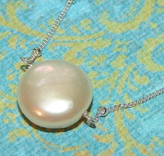 Coin Pearl Necklace, Floating on Sterling Satellite Chain, Lobster Clasp, Ivory White
