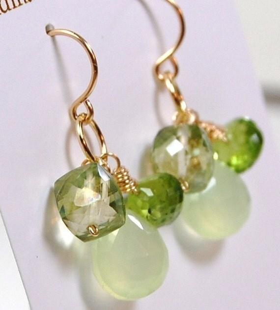 Peridot Earrings, Chalcedony, Quartz 14K Gold Fill Ear Wires Hooks Wire Wrapped Gemstones, Fresh Cut Green