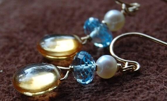 Citrine Blue Topaz Earrings, 14K Gold Fill Pearl Wire Wrapped, November December June Birthstones