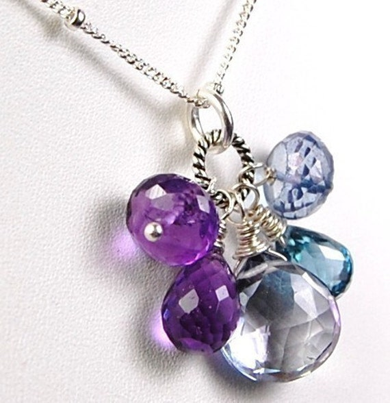 Amethyst Necklace, Sterling Silver Wire Wrapped London Blue Topaz, Blue Quartz, Eventide, bridesmaids hamptonjewels