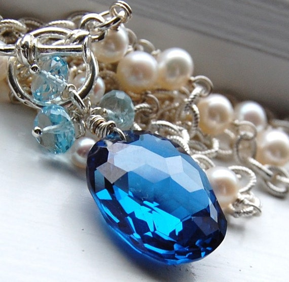 SALE Oceanica, Luxe AAA Blue Topaz Sterling Silver Cable Chain Pearl Necklace w Toggle Free Ship
