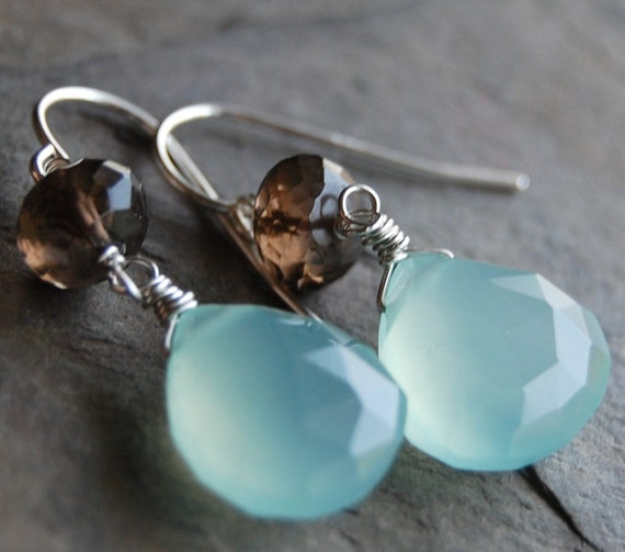 Aqua and Brown Earrings, Chalcedony and Smoky Quartz, Wire Wrapped Sterling Silver Sanibel Earrings, Chocolate and Blue