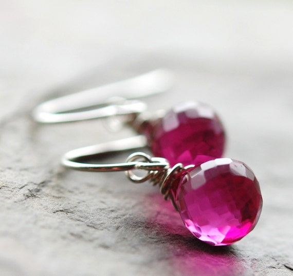 Ruby Quartz Earrings, Sterling Silver, Rubellite, Pink Fuchsia Wire Wrapped Briolettes, Summer Fashion