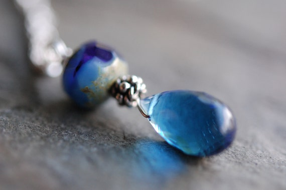 Blue Sapphire Quartz and Czech Glass Bead Necklace, Wire Wrapped in Sterling Silver, Bali Accent, September Sea