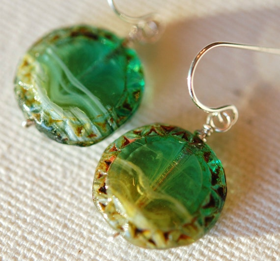 READY TO SHIP, Aqua Turquoise Blue Green Glass Earrings Sterling Silver Wires, Disc Coins, Wire Wrapped, Atlantis