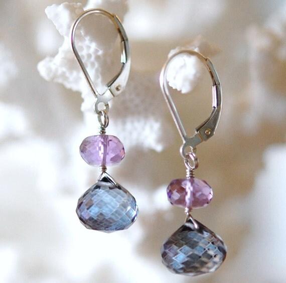 Purple Blue Earrings, Amethyst, Quartz Gemstones Sterling Silver Wire Wrapped on Leverbacks