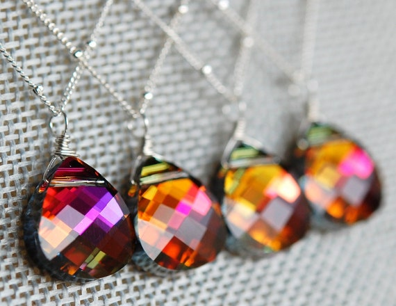 Set of 5 Orange Pink Bridesmaid Necklaces, Volcano Swarovski Crystal Briolette, Sterling Silver, Tropical Sunset