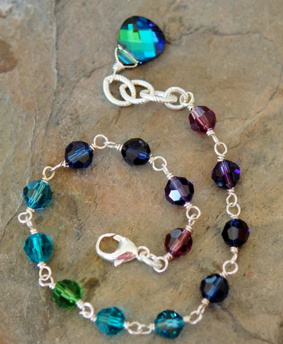 Peacock Bridesmaid Bracelet, Swarovski Crystal Sterling Silver, Adjustable, Blue Purple Green Teal
