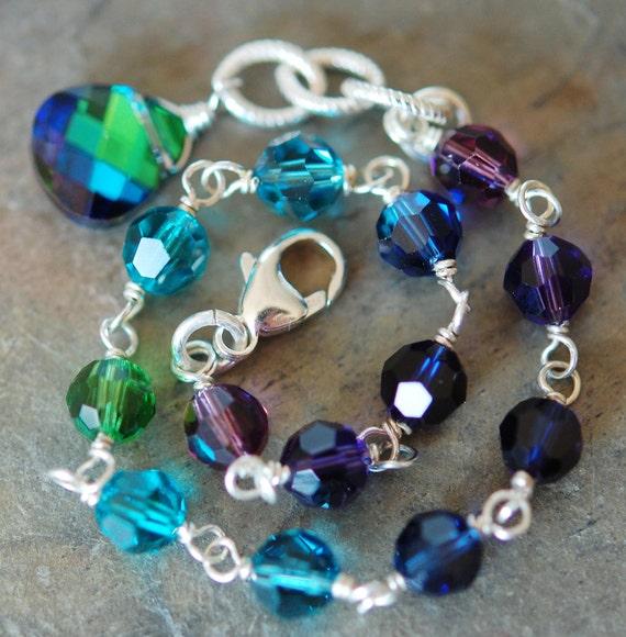 Peacock Bracelet, Swarovski Crystal Sterling Silver, Adjustable, Bridesmaid Gift, Blue Purple Green Teal