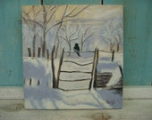THE MAGPIE - Original Painting after Monet - Snowy Landscape - Snow - Black Bird - Shadow - White Snow - Winter Landscape - Gift Idea