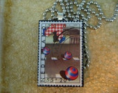 Vintage Stamp Pendant - Nederland - Recycled and Green - Three Balls