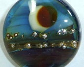 Blue Silvered Lampwork Glass Bead Focal (FS1010) REFLECTIONS