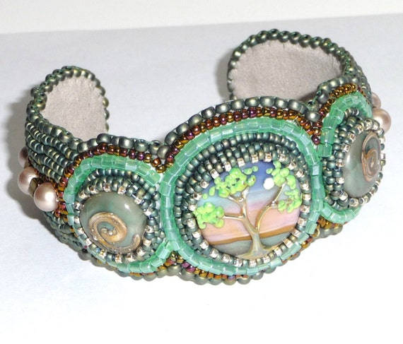 Carabeads Handmade Lampwork Bead Embroidered Cuff Bracelet DAWN'S LIGHT (CB1001)