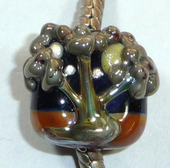 Black Pandora Lampwork Bead, Tree Moon European Charm (P01158) COPPER TREE