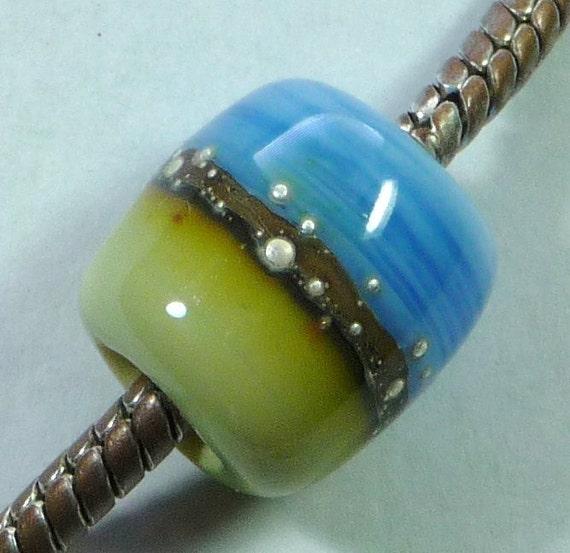 Lampwork Bead,  European Charm, Silvered  CAPRI (P01270)