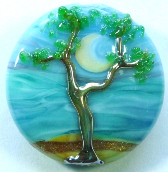 Lampwork  Tree Bead, Large Spree Lentil Art Focal (LF1393) SEASIDE SENTINEL