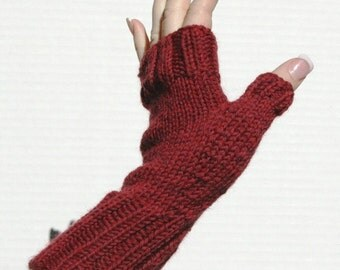 Hand-knit Fingerless Mittens with Thumb, Cranberry