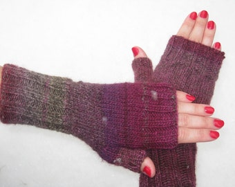 Hand-knit Fingerless Mittens with Thumb, Mulberry Wine, Size small