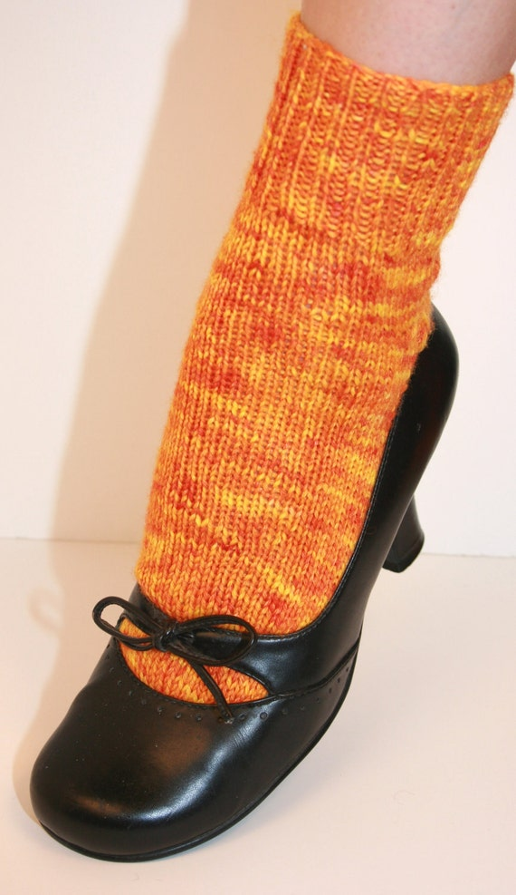 Sunshine Yellow and Orange Winter Socks with Silk, Hand-knit by Janie, W 7-9, Lovely Day