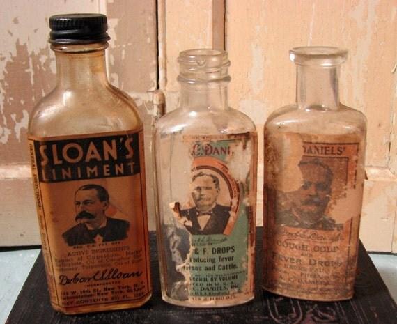 items similar to 3 quack medicine bottles antique