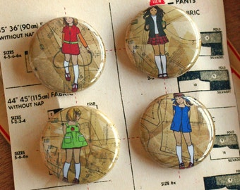 Red Shoe Girls badges (set 2)