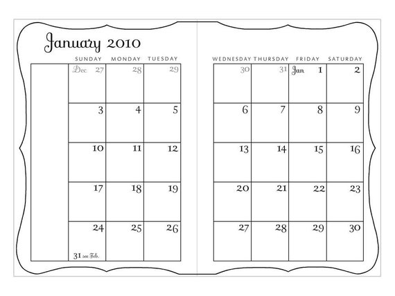 2010 Calendar pdf - Printable 5 x 7 Monthly Calendar Planner