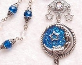 Moon Goddess- Antiqued Silver Glitter Celestial Necklace