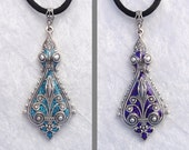 RESERVED for eobaba- Sparkling Surprise- REVERSIBLE Victorian Style Glitter Pendant