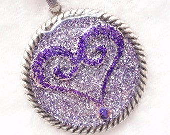 Purple Heart- Glitter and Resin Antiqued Silver Pendant