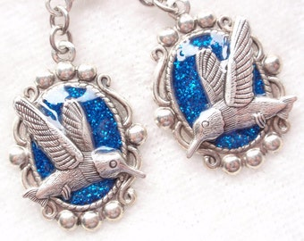 Hummingbird Earrings- Antiqued Silver, Glitter and Resin (E-083)