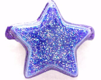 Shining Star- Purple Glitter and Resin Hair Clip