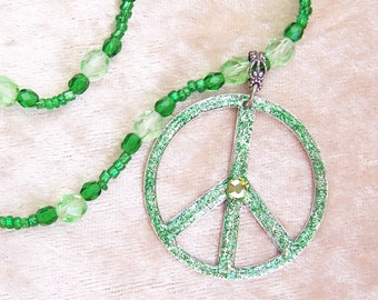 Green Peace- Glitter and Beaded Hippie Style Necklace