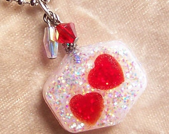 CLEARANCE - Two Hearts- Glitter and Resin Pendant