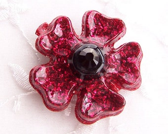 Sultry Flower- Glitter and Resin Hair Clip