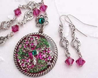 Springtime Meadow- Glitter, Resin, Antiqued Silver Necklace and Earrings