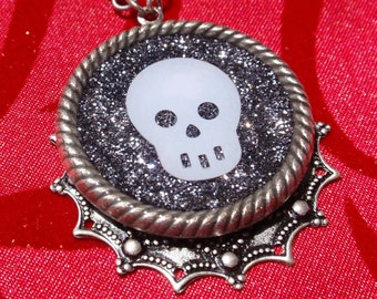 CLEARANCE - Friendly Skull- Glitter Resin Goth Antiqued Silver Necklace