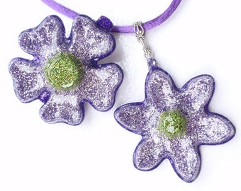 Purple Flower Pendant and Hair Clip Set- Glitter and Resin