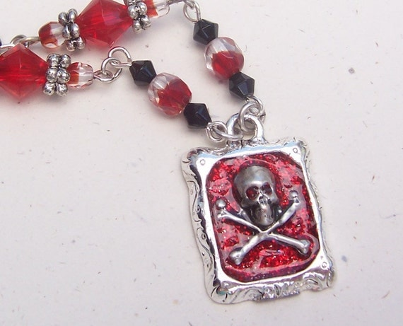 Bloody Pirate Necklace- Antiqued Silver and Glitter