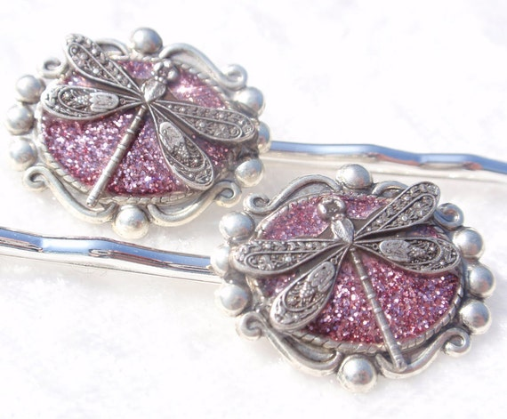 English Garden- Glitter and Resin Dragonfly Bobby Pins