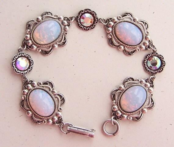 Misty Morning- Harlequin Opal and Swarovski Crystal Bracelet