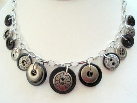 Vintage Silvertone and Black Button Necklace,OOAK