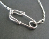 handcrafted SAFETY PIN front clasp necklace in sterling silver -- wear by itself or add a charm
