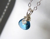 My Lil Birthstone Necklace -- London Blue Topaz ( December ) wire wrapped necklace in sterling silver