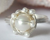 SNOWY NEST white freshwater pearl anti-tarnish sterling silver wire wrap ring
