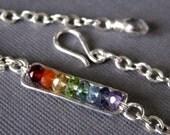 Rainbow on my Wrist sterling silver wire wrap bracelet