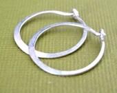 MINI 5/8 inch sterling silver forged plain hoop earring