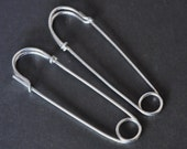 SAFETY PIN earrings - large 2 inch - sterling silver - big hoop earrings - punk jewelry, fun earrings