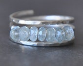 SIMPLY AQUAMARINE sterling silver wire wrap ring custom sized and adjustable